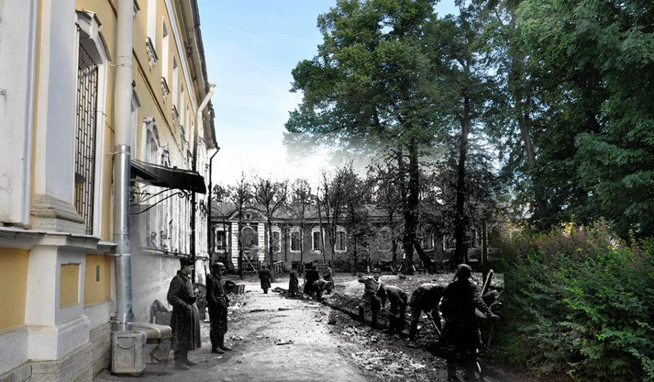 8/16. Петерхоф. Нацистичка полиција испред полицијске станице, Разводна улица 3.