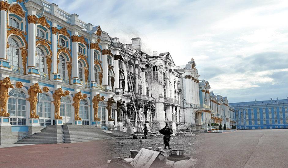 9/16. Јекатерињински дворац у граду Пушкину (некадашње Царско Село). Немачки војници пљачкају палату.
