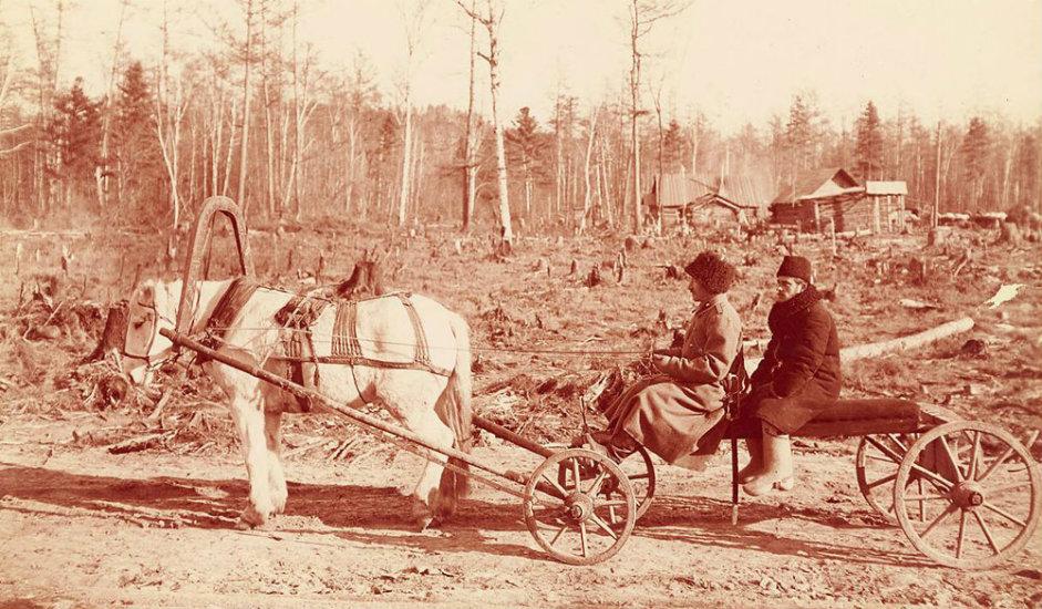 2/16. Овакве запреге користили су извођачи радова током изградње железнице у Источном Сибиру. Светски саобраћајни одбор ангажовао је уметника и фотографа Вилијама Хенрија Џексона да од 1894. до 1896. путује овом пругом, која се тада градила. На том путовању снимио је више од 25.000 фотографија.