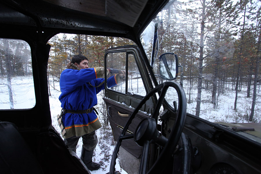 However modern Khantys use TV, cell phones, walkie-talkies, and all technical conveniences. A lot of modern means of transportation are used because the Khanty have to cover large distances across the taiga. In the summer, they use cars and horses; in the winter, they use snowmobiles, reindeer sleighs, and skis.