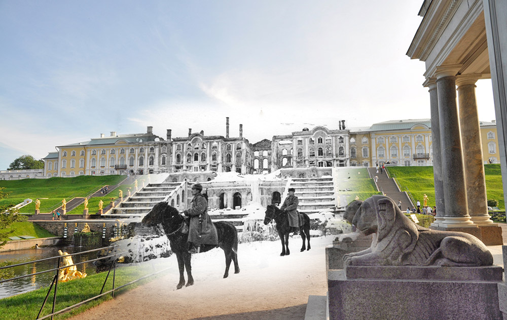 Peterhof. Soviet military personnel on horseback. Behind them is the wreckage of the Grand Palace and the Samson Fountain.