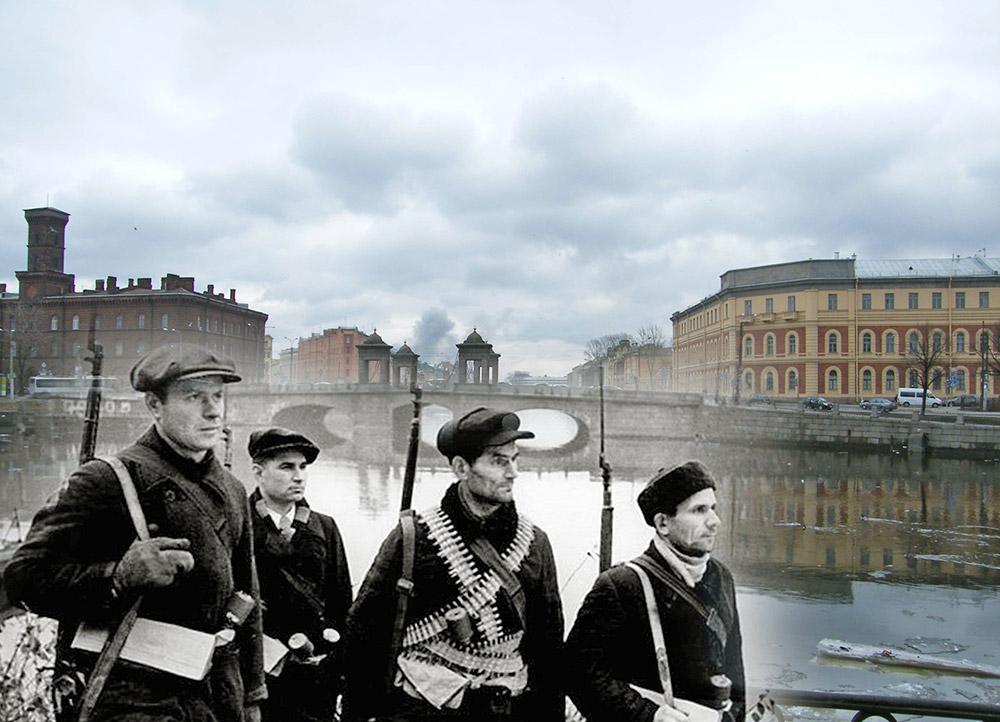 A street patrol pauses near Staro-Kalinkin Bridge and the Fontanka River.