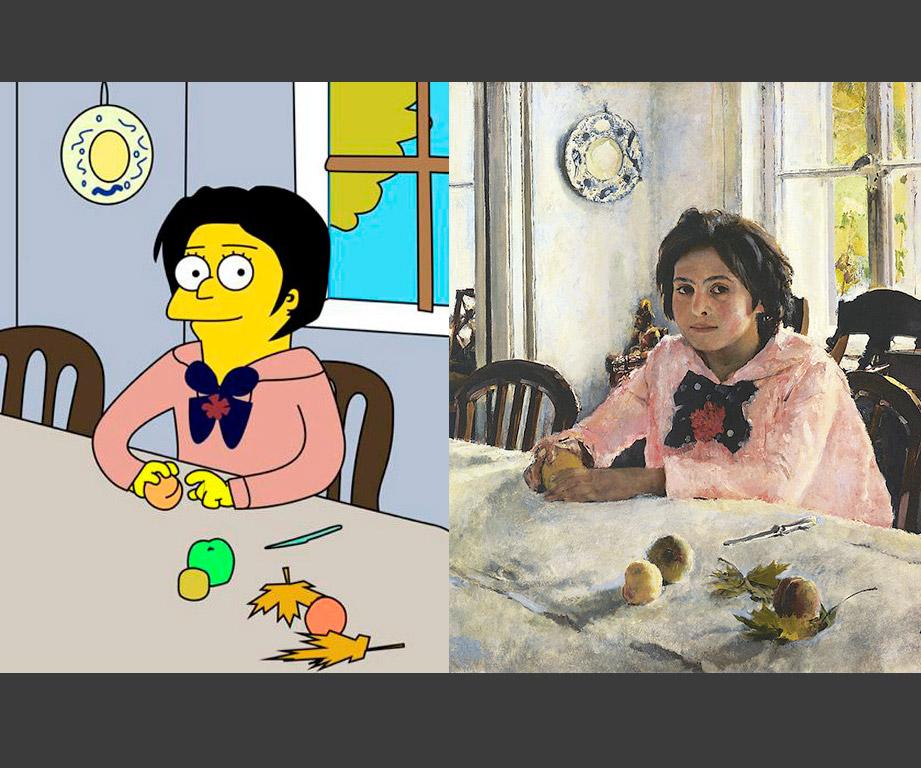 Studenti Britanske više škole umjetnosti i dizajna u Moskvi predstavili su projekt kojim nude reinterpretaciju najslavnijih ruskih slika i zamijenili protagoniste na njima likovima animirane serije Simpsoni. / Valentin Serov: Djevojka s breskvama