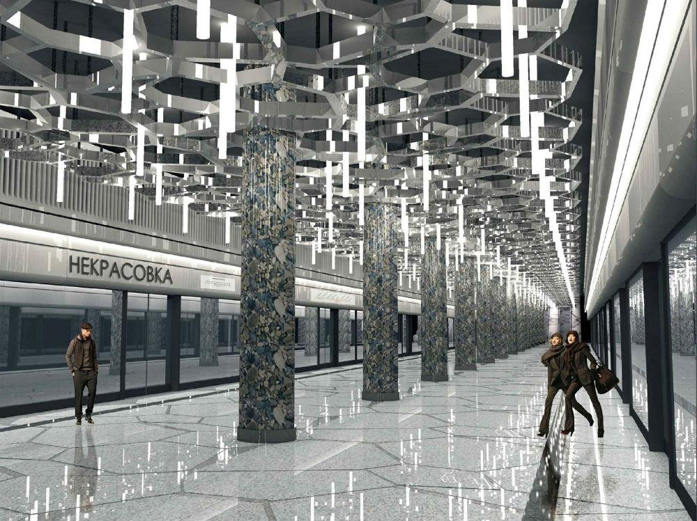 ネクラソフカ駅//この駅はかつての灌漑用地(リュベレツキエ用地)に位置しているため、建築家たちはこの土地の生態系を駅のデザインに盛り込んだ。ネクラソフカ駅はモスクワ南東の行政区にある同名の地区に建てられる。この村は19世紀末以来ネクラソフカと呼ばれているが、その名称はこの土地の地主、イーゴリ・ネクラソフカに由来する。彼はモスクワで紅茶を商い、食堂を所有していた商人だった。  20世紀初頭になると、モスクワ市政府は灌漑用地を造設するため、ネクラソフカ氏から土地を買収した。さらにその後、ここにはリュベレツキー通気施設が建てられた。/2015年に開業