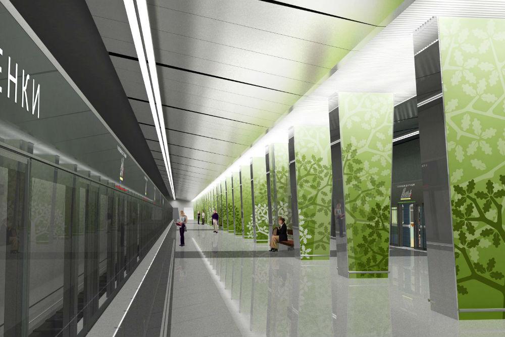 ラメンキ駅//ラメンキ駅の設計テーマは、この地区の歴史から発想を得ている。緑を背景とする木々のシルエットは、この地域にかつて存在していた樫の森を彷彿とさせるものだ。利用客の安全を確保するために、プラットフォームの端と線路の間にはガラス製のスライド型ドアが設置される。/予定開業日:2015年