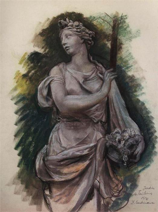 革命勃発後の数年間、ソビエト連邦は展示会が盛んに開かれていた。 1924年、セレブリャコーワは、米国で開催される大掛かりなロシア美術の展示会に参加した。 彼女の全作品が完売したので、彼女はそこで得られた収入を利用して、コミッションを獲得するためにパリで展示会を組織することにした。 \ 『チュイルリー庭園の彫刻』、1941年