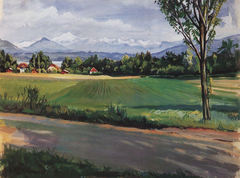 だが、パリで過ごした年月は、彼女に喜びも創造的な満足感ももたらさなかった。 彼女は故国に帰りたいと思い焦がれていたが、その切望を自身の絵画で表現しようとした。 \ 『ジュネーブ近くのスイスの風景』、1951年