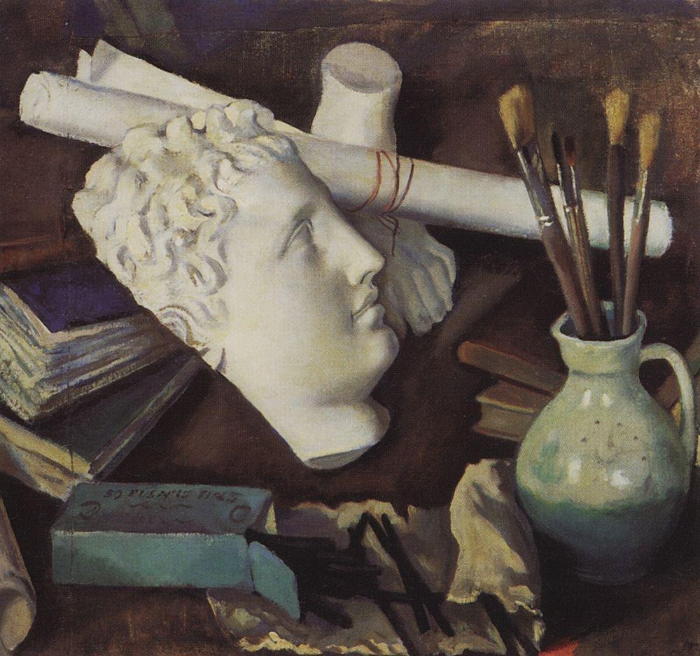 彼女が受けた美術教育は中途半端なものだったが、セルゲイ・ディアギレフとともに「芸術世界」協会を創設した叔父のアレクサンドル・ベノワと親しい関係にあった。セレブリャコーワが芸術家の道を歩む運命を辿ったのは、家に代々続く伝統によるものであった。\ 『美術的特性をもつ静物画』、1922年