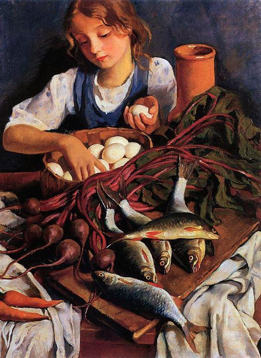 少女時代や若い頃の彼女は、祖父が所有するネスクチノエ村で過ごした。 この村は現在、ウクライナのハルキウからそれほど遠くないところにある。 この時期、ジナイーダは畑や村の各所で仕事する小作農や少女たちを注意深く観察した。 このテーマは、彼女の全作品を通じてリフレインとなった。 \ 『台所で』 1923年