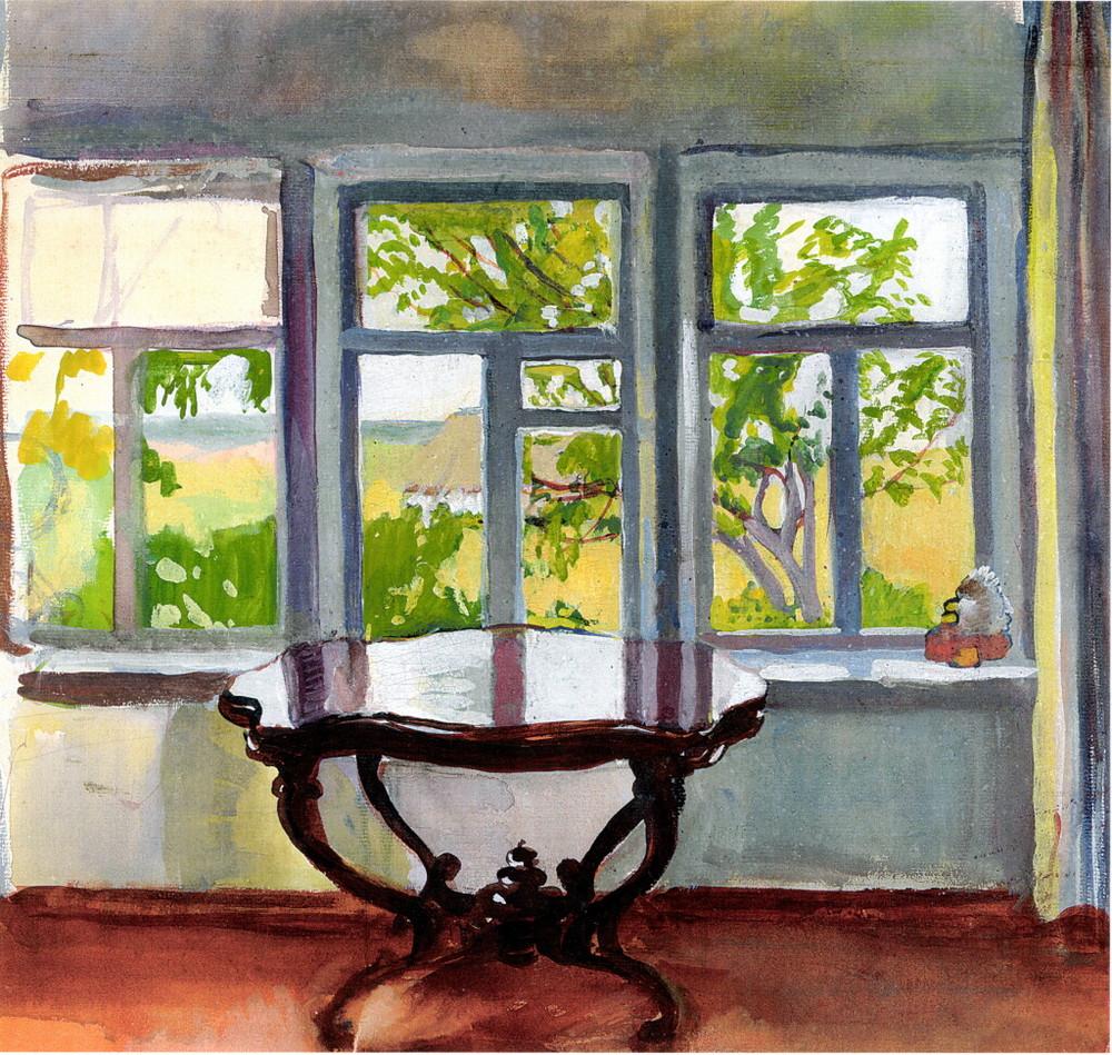 1886年、父の死後、一家は先祖代々住んできた村を離れ、サンクトペテルブルクに移り住んだ。ジナイーダは大学進学を専門とする女子高校を卒業し、美術学校に入学した。 1902年〜1903年のイタリア旅行では、彼女は多数の素描や習作を描いた。 \ 『春のベランダ』、1900年頃