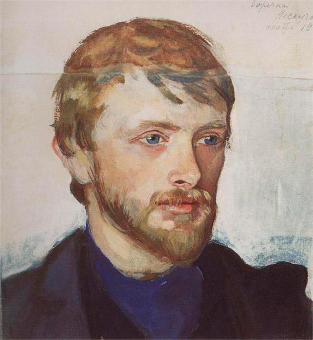 1905年、彼女はいとこのボリス・セレブリャコフと結婚し、新婚夫婦はすぐにパリへと出発したが、そこでジナイーダはアカデミー・グラン・ショミエールに在籍し、数多くの自然の素描を描いた。 \ ボリス・セレブリャコフの肖像画、1905年