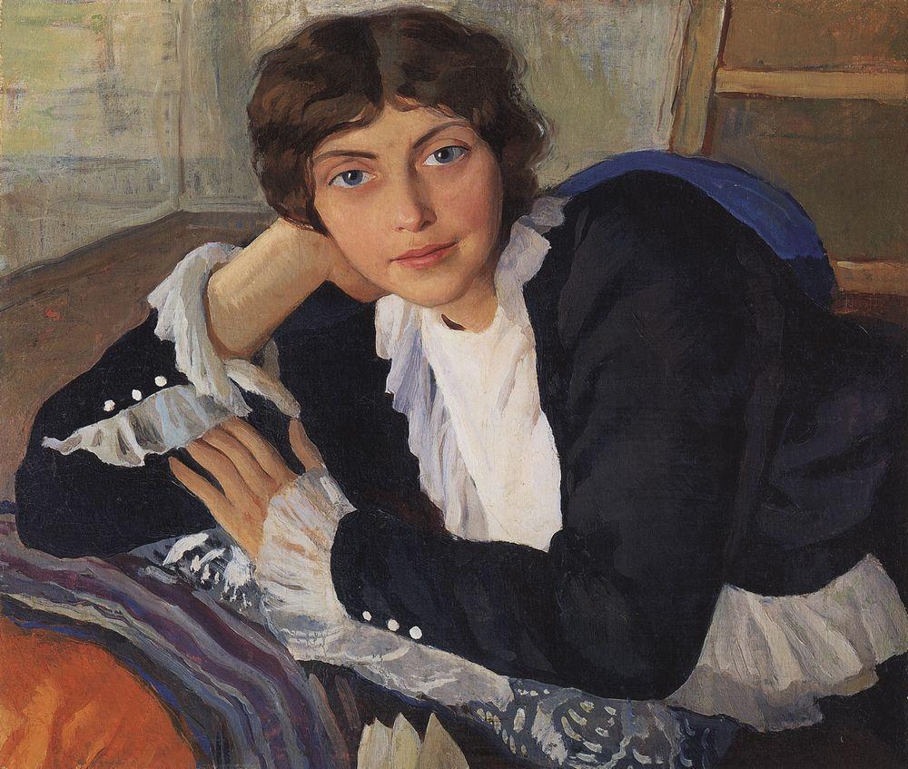 1年後、夫婦は故郷のネスクチノエに戻った。 ジナイーダは創作活動に専念し、スケッチ、肖像画や風景画を多く創作した。 初期の作品からでも、彼女特有の作風や興味関心の幅広さを窺うことができる。 ジナイーダ・セレブリャコーワにとって真の意味での最初の成功は、1910年、彼女が26歳の時にやってきた。 \ 『芸術家ローラ・ブラズの肖像画』、1910年