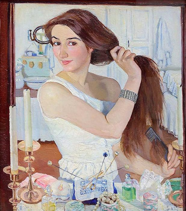1910年にモスクワで開催された第7回ロシア人アーティスト展示会で、トレチャコフ美術館は、セレブリャコーワの自画像『化粧台で』とグワッシュ水彩画『秋の緑樹』を購入した。 評論家たちは、クリアで明るいトーン、巧みな腕前、比類のない自然美という点で、彼女の風景画の素晴らしさを絶賛した。 \ 『化粧台で』、1909年