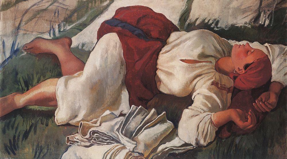 彼女の創造性が頂点に達したのは、ロシアにいた1914年から1917年だった。 この時期、ジナイーダ・セレブリャコーワはロシアの農村生活、小作農の作業や自然を特別なテーマとする一連の絵画を創作した。 \ 『眠る小作農』、1917年