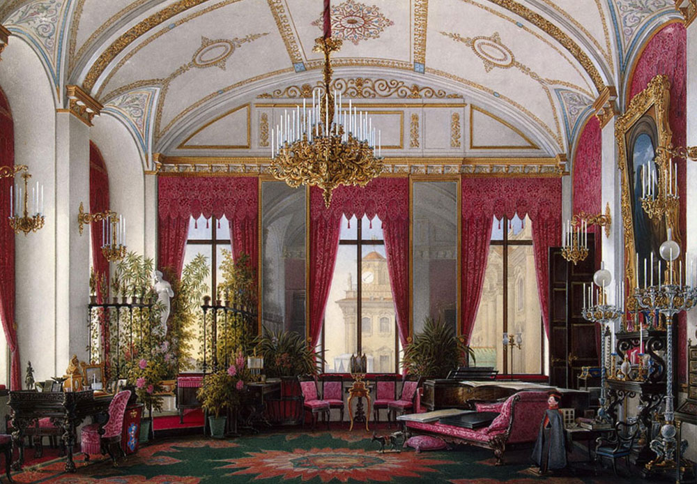 The Winter Palace, the Russian Empire's official residence in the 18th-20th centuries. Located in the heart of Saint Petersburg, this former imperial palace is now part of the Hermitage State Museum's complex. / Empress Maria Alexandrovna's Crimson Cabinet