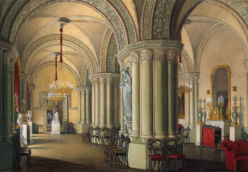 In 1904, Nikolai II (the last Russian emperor) transferred the permanent residence to Alexandrovsky Palace in Tsarskoye Selo (the royal family's estate located near the city of Pushkin, 25 kilometers from Saint Petersburg). / Grand Duchesses' Gothic salon