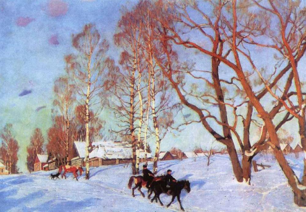 La Russie est un grand pays au climat nordique, où l'on a souvent l'impression que la fin de l'hiver n'arrivera jamais. En Russie, le mois de mars, premier mois du printemps, ressemble souvent à l'image que l'on voit dans ce tableau: manteau neigeux et maisons enneigées avec un soleil qui peine à percer les nuages pour la première fois après le long hiver. //Soleil de mars, 1915 Yuon
