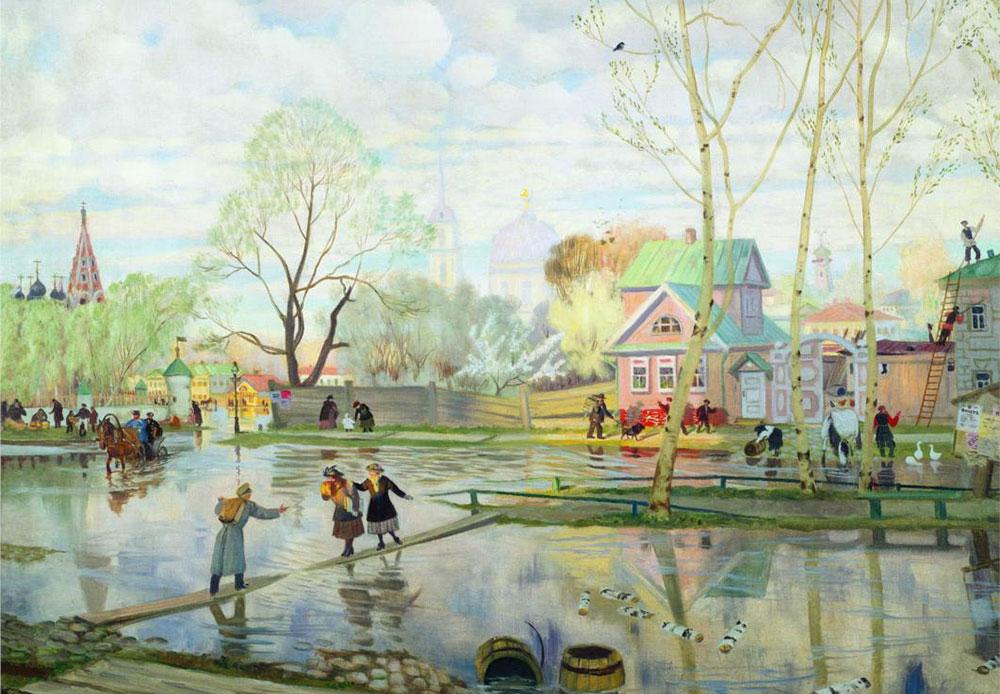 Ce tableau de Koustodiev sur le thème du printemps évoque un sentiment de légèreté. Il tente de donner un sens de liberté — la joie de sortir dehors et de respirer l'air du printemps. / Printemps, 1921 Boris Koustodiev