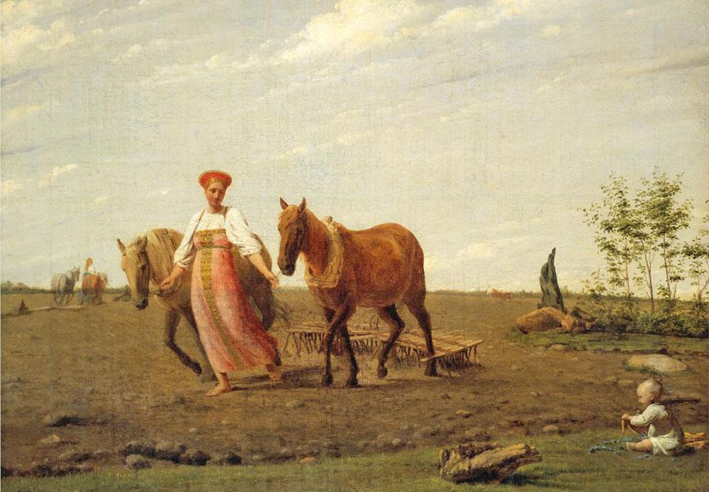 Venetsiantov peignait souvent des paysans ou des ouvriers. Dans ce tableau, on voit une femme russe labourant la terre et tout le paysage autour d'elle semble accueillir l'arrivée du printemps. / Aux champs, printemps, Alexeï Venetsiantov