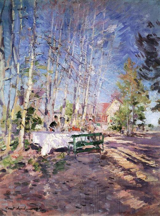 Durant la révolution de 1917, privé de son atelier, ses toiles et ses peintures, Konstantin Korovine était dans un état de désarrois. Après avoir déménagé de Moscou à Ostrovno, au bord du lac Udomlya dans la région de Tver (à 371 km de Moscou), l'artiste peignait de mémoire des miniatures sur du carton. / Printemps 1917, Konstantin Korovine