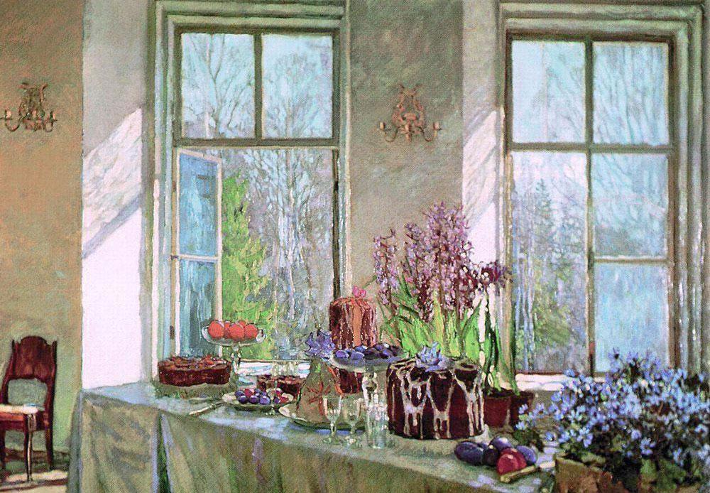 """Stanislav Joukovsky a grandi sur le domaine familial, qu'il a perdu après la mort de son père à cause des dettes impayées. Il s'installa à Moscou, mais continuait à peindre des """"nids de la petite noblesse"""" (terme que l'on utilisait pour décrire les domaines familiaux légués de génération en génération, terme qu'Ivan Turgenev a aussi choisi pour un de ses romans). Dans ce tableau, le printemps est représenté à travers la table qui a été mise pour célébrer Pâques. / Début du printemps, 1902, Stanislav Joukovsky"""