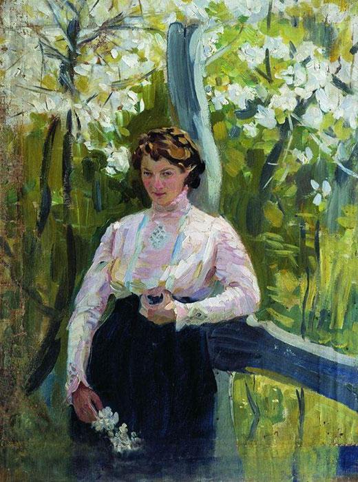 Le portrait d'une fille inconnue peint par Ivan Koulikov en 1912. Il venait juste d'être diplômé de l'Académie des beaux-arts et à l'époque, il peignait un grand nombre de portraits et de paysages. A la veille de la première guerre mondiale, l'artiste se déplaçait d'un domaine familial à l'autre afin de copier des tableaux, sculptures et archives qu'il y trouvait. / Printemps, 1912 Ivan Koulikov