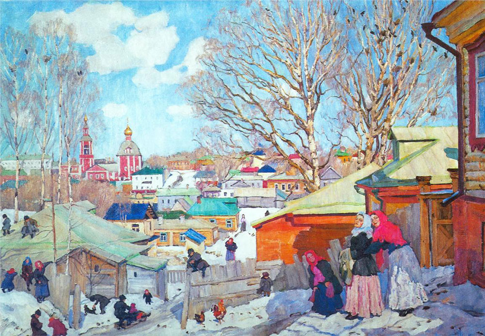 Voici un jour typique du printemps russe: malgré la perte du manteau neigeux, les enfants continuent à dévaler les pentes enneigées à la luge. Début mars est souvent la saison de Maslenitsa ou des jours gras, quand on chasse l'hiver, même s'il n'est pas du tout pressé pour partir… // Jour ensoleillé du printemps, 1910, Konstantin Yuon