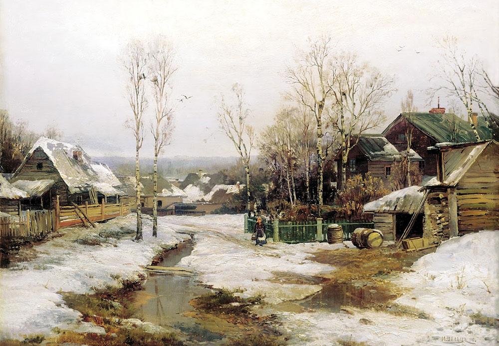 Au XIXe siècle, l'arrivée du printemps à St. Pétersbourg rimait souvent avec inondations. La ville fut construite sur une zone marécageuse dans le golfe de Finlande, à l'embouchure du fleuve Neva. D'après les récits de plusieurs sources, au cours de ses 300 ans d'existence, la ville de St. Pétersbourg a été inondée près de 300 fois. // Printemps dans les environs de St. Pétersbourg, 1896, Ivan Welz