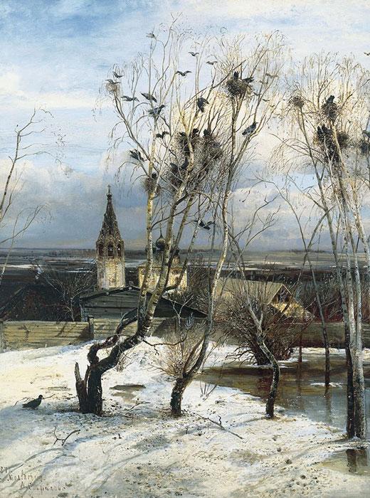 « L'arrivée des corbeaux » ( 1871) est un tableau célèbre d'un artiste russe, Alexei Savrasov, peint dans le village de Molvitino près de Kostroma (à 340 km de Moscou). Cette image d'un jour typique du début du printemps montre l'Église de la résurrection, encore intacte à ce jour.