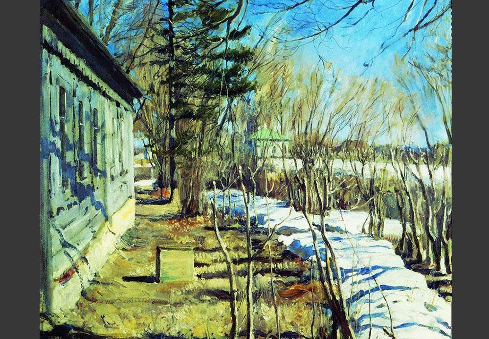 L'artiste Sergueï Vinogradov aimait peindre des scènes en plein-air dans un style décoratif. Il avait une prédilection pour des paysages naturels, baignés dans la lumière naturelle. // L'arrivée du printemps, 1911 Sergueï Vinogradov