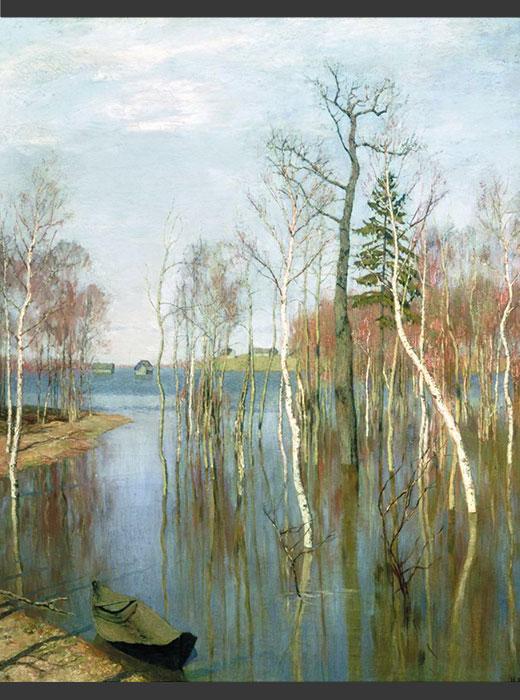 Voici un autre tableau d'Isaac Lévitan dédié au printemps, dont le nom russe signifie littéralement « Printemps — grandes eaux », puisqu'il met en scène la crue d'un fleuve, le moment où tout autour est inondé. / Printemps, la crue, 1897 Isaac Lévitan