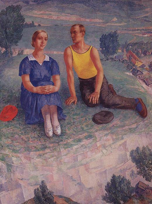 Petrov-Vodkin montre une vision plus inhabituel du printemps. L'artiste représente un printemps où les paysages sont déjà verdoyants. Plus tard dans sa vie, il abandonna la peinture abstraite et exprimait ses émotions à travers des images des personnages ordinaires qu'il choisissait en tant que protagonistes de ses tableaux. / Printemps 1935, Kouzma Petrov-Vodkin
