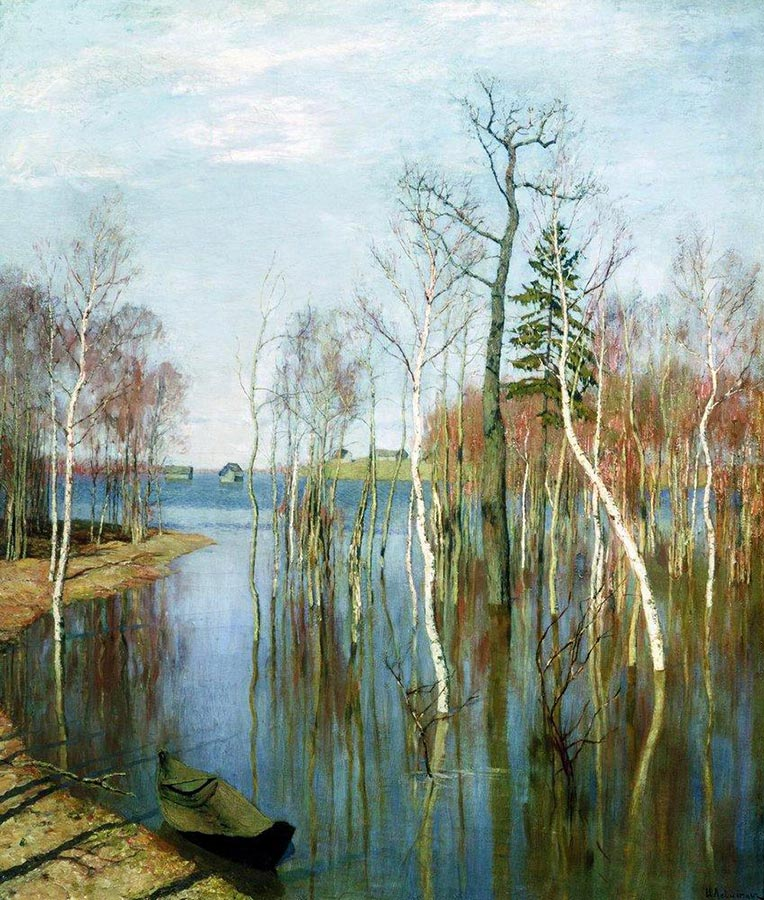 "Another painting by Isaac Levitan dedicated to spring. In Russian, it is literally called ""Spring — Big Water"", as it depicts the moment when a river swells over and floods everything around. / Spring High Waters, 1897 Isaac Levitan"
