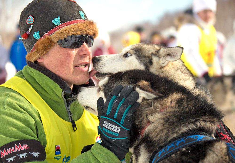 Para musher memperlakukan anjing mereka dengan cara yang berbeda-beda. Andrei Semashkin, pebalap kereta luncur dari Petropavlovsk-Kamchatsky, biasa bercakap-cakap dengan laika-nya satu-persatu sebelum memulai kompetisi. Setelah itu, ia memijat telapak kaki anjing-anjing itu.
