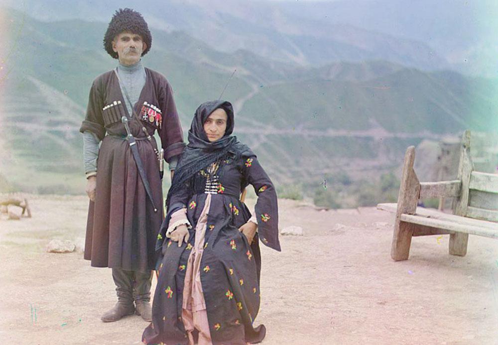 In der Zeit zwischen 1905 und 1915 lebte und arbeitete Prokudin-Gorski in Dagestan, wo er Berglandschaften, kleine Dörfer und Einheimische fotografierte.
