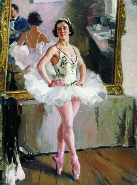 Artists have often addressed the topic of Russian ballet: the pose, movement, and plasticity of ballerinas have inspired the creation of some genuine masterpieces / Portrait of ballerina Olga Lepeshinskaya. Alexander Gerasimov, 1939