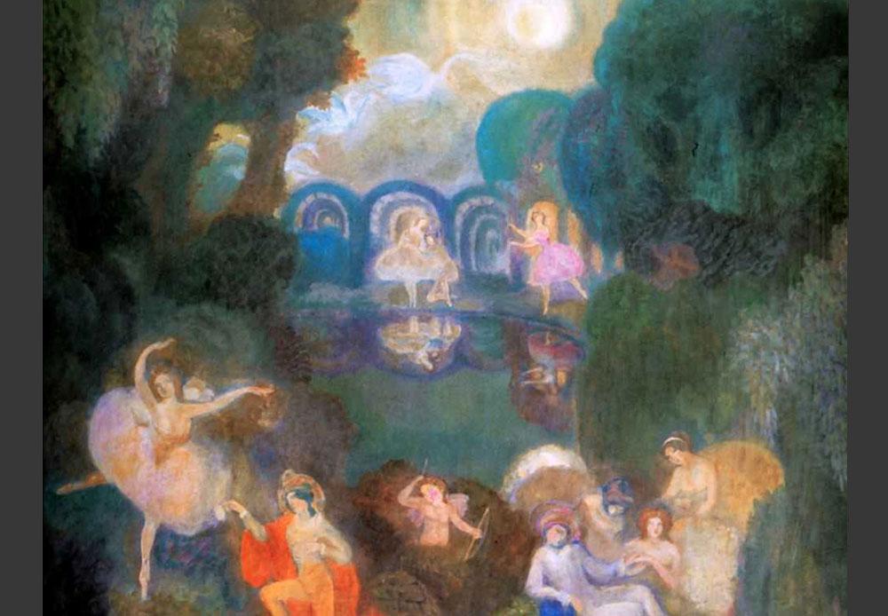 セルゲイ・スデイキン(1882-1946)は画風が「カリキュラムにそぐわない」とされ、「モスクワ絵画・彫刻・建築学校」から退学処分を受けたが、その2年後には劇場画家として人気が出た。彼は生涯、メトロポリタン・オペラ劇場を含む数多くの劇場で舞台デザインを手掛けた。 / セルゲイ・スデイキン 1910年