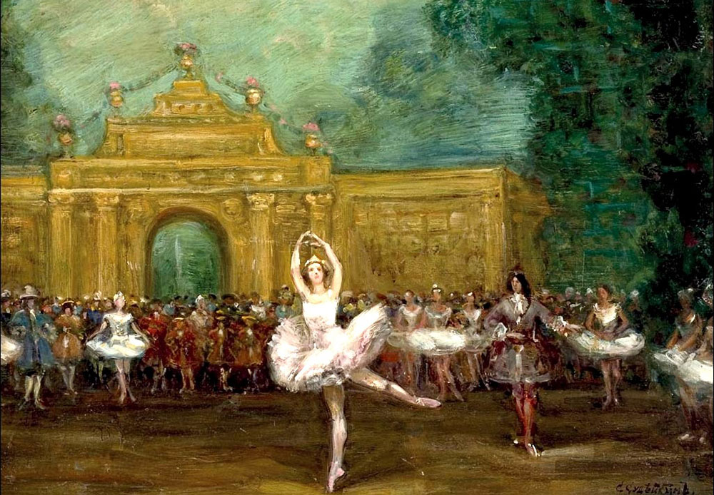 "The ballet ""Pavillon d'Armide"" was staged at the Mariinsky Theater in St Petersburg in 1907, and two years later the premiere, starring Anna Pavlova, was held in Paris thanks to Sergei Diaghilev's Ballets Russes / Sergei Sudeikin, Russian ballet (Pavlova and Nijinsky in"