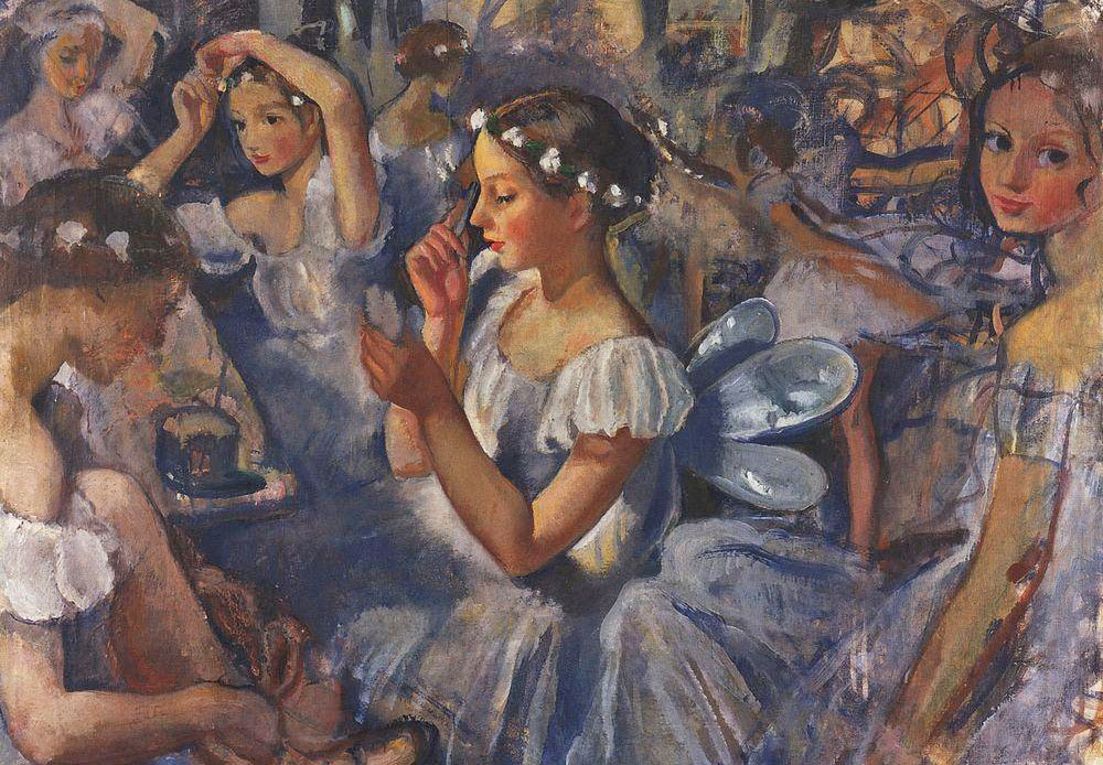 For three years, artist Zinaida Serebryakova (1884-1967) was able to attend ballet rehearsals at the Mariinsky Theater, which is reflected in her sumptuous series of ballet portraits and compositions / Girls Sylphides (Ballet Chopiniana), Zinaida Serebryakova, 1924