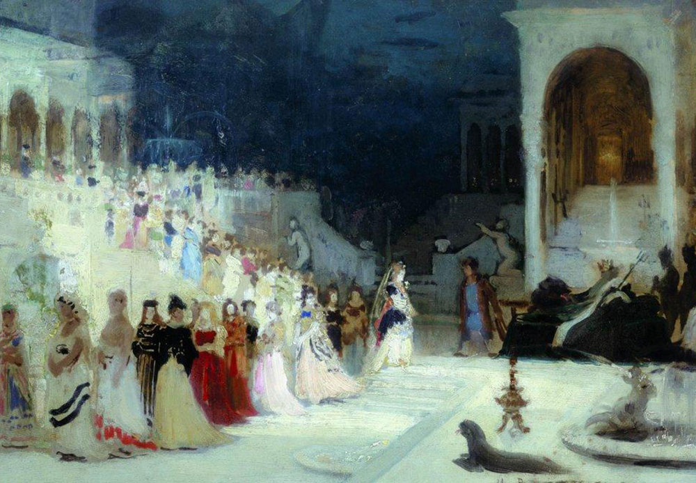 Painting, graphic arts, photography, and sculpture, with their powerful visual capacity, took ballet beyond the theater and into the wider consciousness / Ilya Repin, Scene from the ballet, 1875