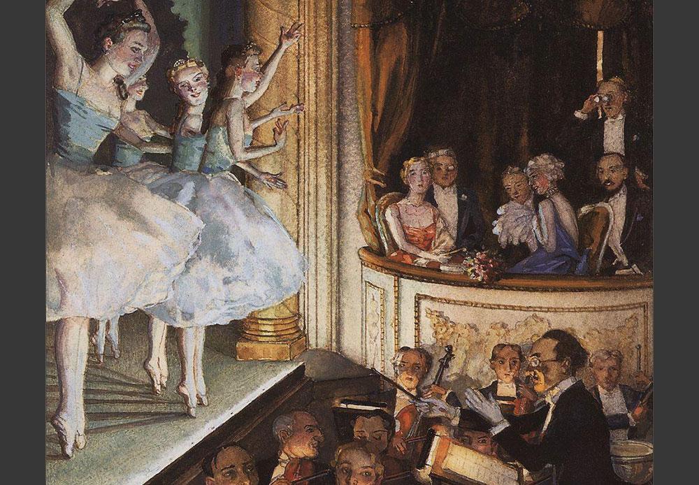 ディアギレフはナターリア・ゴンチャロヴァ(1881—1962)、ニコライ・リョーリフ(1874—1947)、アレクサンドル・ベノワ(1870—1960)やジナイーダ・セレブリャコヴァ (1884-1967)を含む数多くのロシア人画家と仕事をした。彼らはバレエの舞台デザインを手掛けただけではなく、バレエの世界を超えて有名な絵画を作った。 /「 バレエ・リュス」、コンスタンティン・ソモフ 1910年
