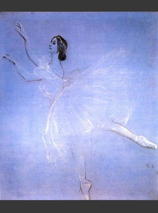 バレエ「ラ・シルフィード」のシルフ(風の精)役は伝説のロシア人バレリーナ、アンナ・パヴロワ(1881-1931)が踊った。原作はフランス人作家シャルル・ノディエの幻想小説『トリルビー』(1822年)であった。 / 「『ラ・シルフィード』のアンナ・パヴロワ」、ヴァレンティン・セロフ、1909年