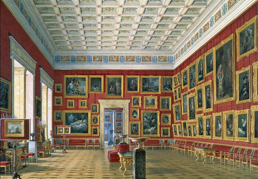 小エルミタージュが1775年に竣工する前から、常に拡張し続けるコレクションを収蔵するのに、この建物が小さすぎることはエカチェリーナ2世にとって明白だった。 1771年に、現在は新エルミタージュと呼ばれ、美術館として利用されている大エルミタージュを建造することが決定されたのは、こうした理由によるものだ。 /  新エルミタージュの屋内。 オランダおよびフランドルの絵画