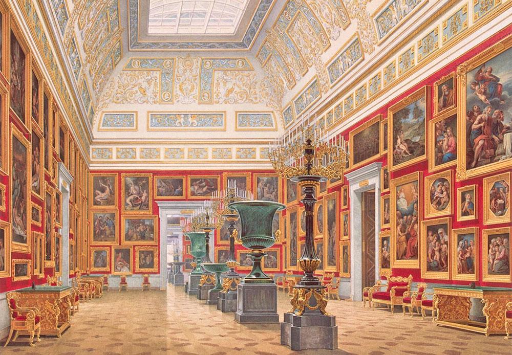 エドゥアルド・ペトロヴィッチ・ガウ(1807~1887年)は、「建築物水彩画」の巨匠だった。 彼は常に、対象物の遠近法に特別な注意を払った。 彼の芸術的な「内装の肖像画」は、ほとんど写真と同じくらい正確で、その描写は驚くほど微細である。 /  新エルミタージュの屋内。 イタリア美術