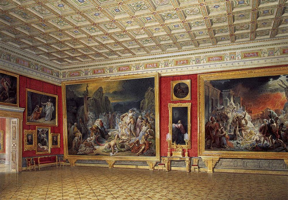ガウは、皇帝ニコライ1世の命により、1850年代より冬宮の屋内を水彩で描き始めた。そしてその少し後には、小エルミタージュと新エルミタージュの威風堂々たる内装に着手した。 /  新エルミタージュの屋内。 ロシア絵画