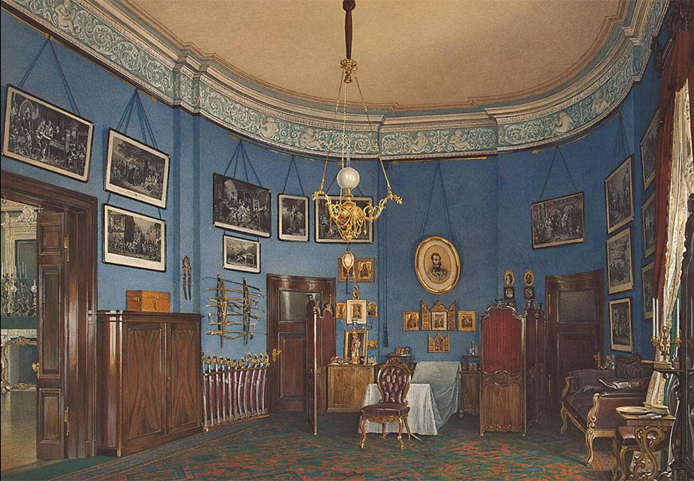 後の1767年から1769年には、建築家のジャン=バティスト・ヴァレン=デラモが、ネワ川のほとりに小エルミタージュの北パビリオンを以前の古典様式を用いて建造した。 / 小エルミタージュの屋内。ニコライ・アレクサンドロヴィチ皇太子の寝室