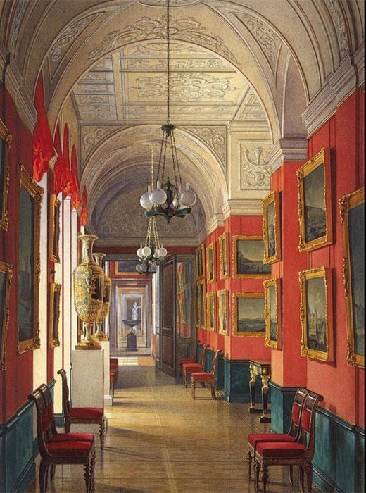 これらのギャラリーに展示された美術品が、後に帝国美術館のコレクションとして受け継がれた。 / 小エルミタージュの屋内。 サンクトペテルブルクを見渡すギャラリー