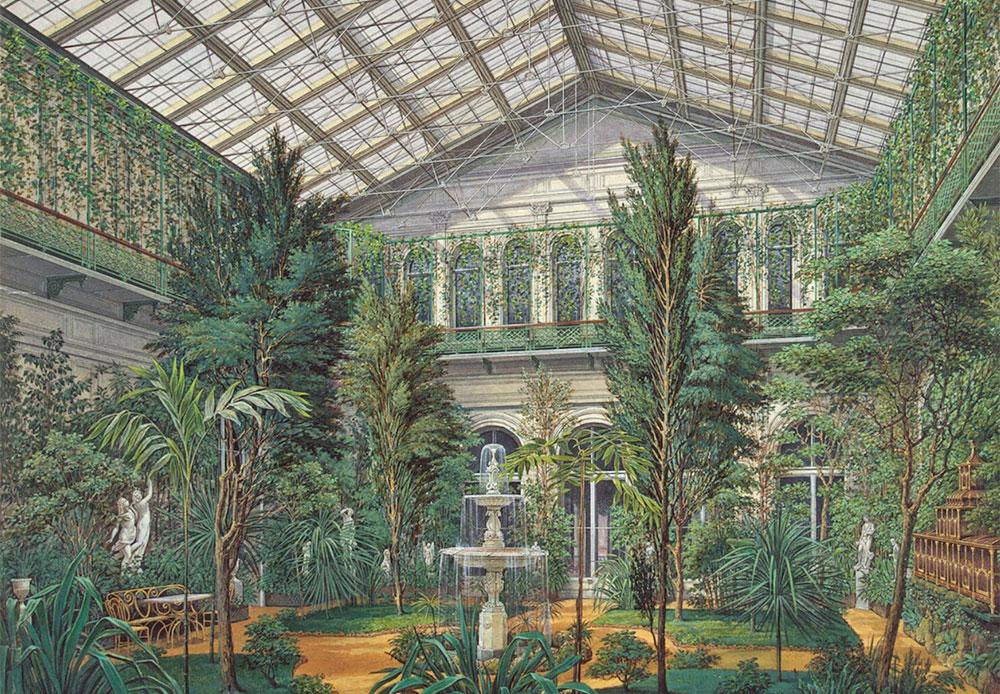 小エルミタージュのパビリオンの南部には冬の庭園があり、その中心には銅像が立っていた。手の込んだ装飾が施された植木鉢に大葉月橘や銀梅花の木が植えられ、庭園上段の欄干を飾った。 冬の庭園が存在したことは、アーカイブに収蔵されている文書が示すように、このパビリオンが当初「オランジュリー」と呼ばれていたことからも説明がつく。 / 小エルミタージュの屋内。 冬の庭園
