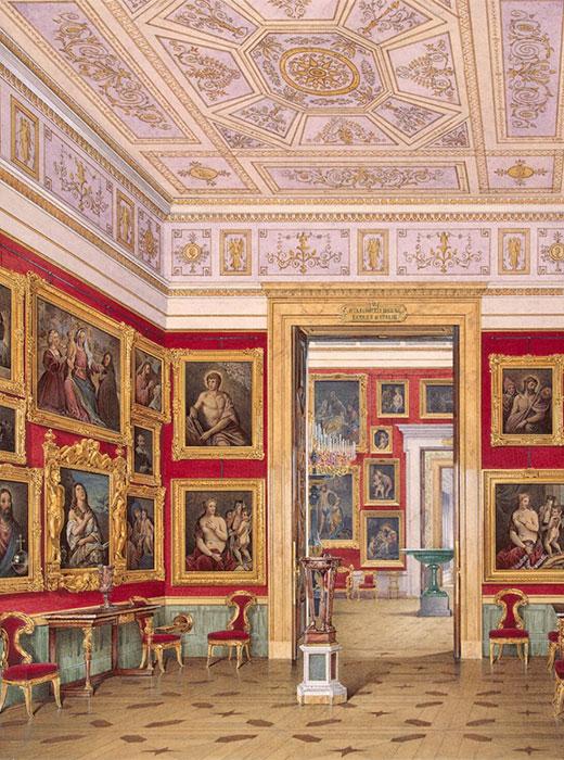 エカチェリーナ2世が収集した絵画や彫刻は、現在エルミタージュの貴重な財宝となっている。 これらは、この美術館の将来のコレクションの基盤となった。 あらゆる建物の壁がいくつもの層の絵画で飾りつくされた。 / 小エルミタージュの屋内。 東ギャラリー