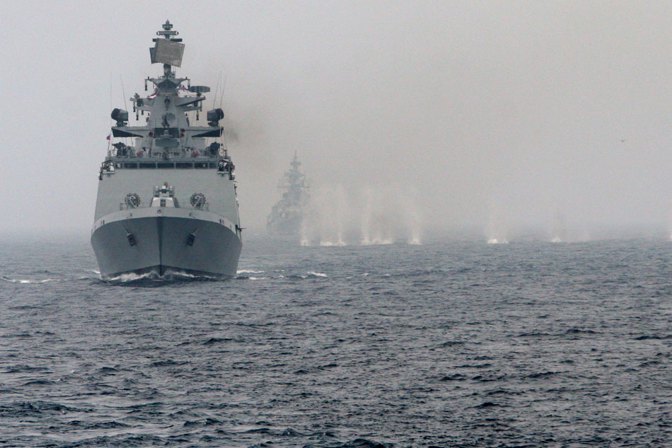 Joint maneuvering of Indian and Russian military vessels.